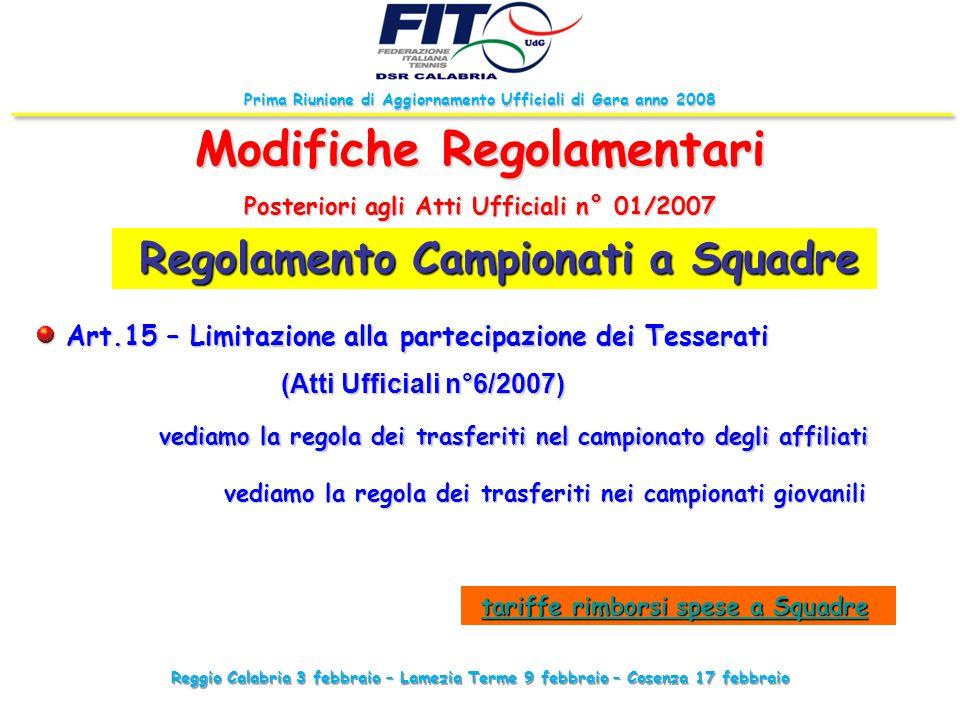 Prima Riunione di Aggiornamento Ufficiali di Gara anno 2008 Regolamento Campionati a Squadre Regolamento Campionati a Squadre Modifiche Regolamentari