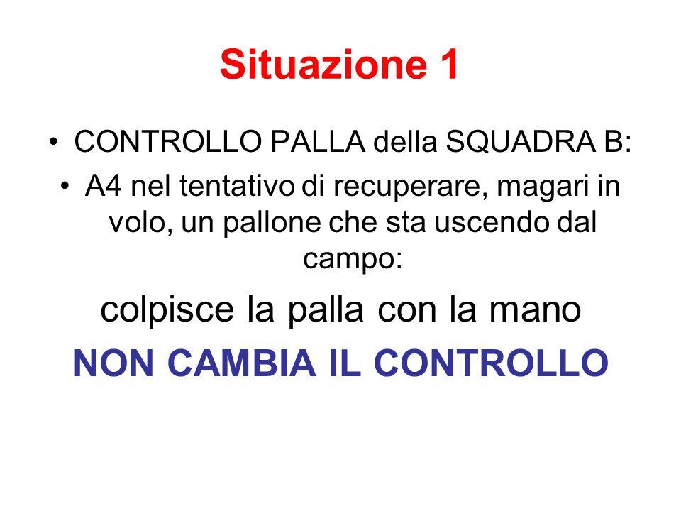 Situazione 1 CONTROLLO PALLA della SQUADRA B: A4 nel tentativo di recuperare, magari in volo, un pallone che sta uscendo dal campo: colpisce la palla