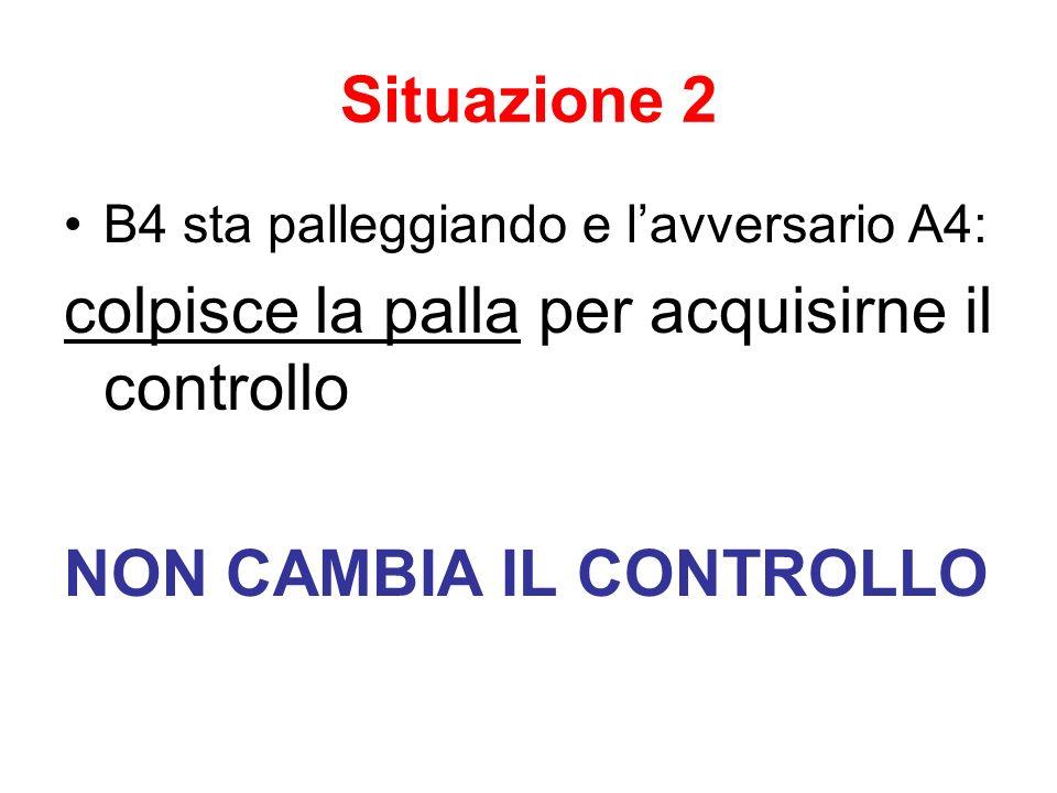 Situazione 2 B4 sta palleggiando e lavversario A4: colpisce la palla per acquisirne il controllo NON CAMBIA IL CONTROLLO
