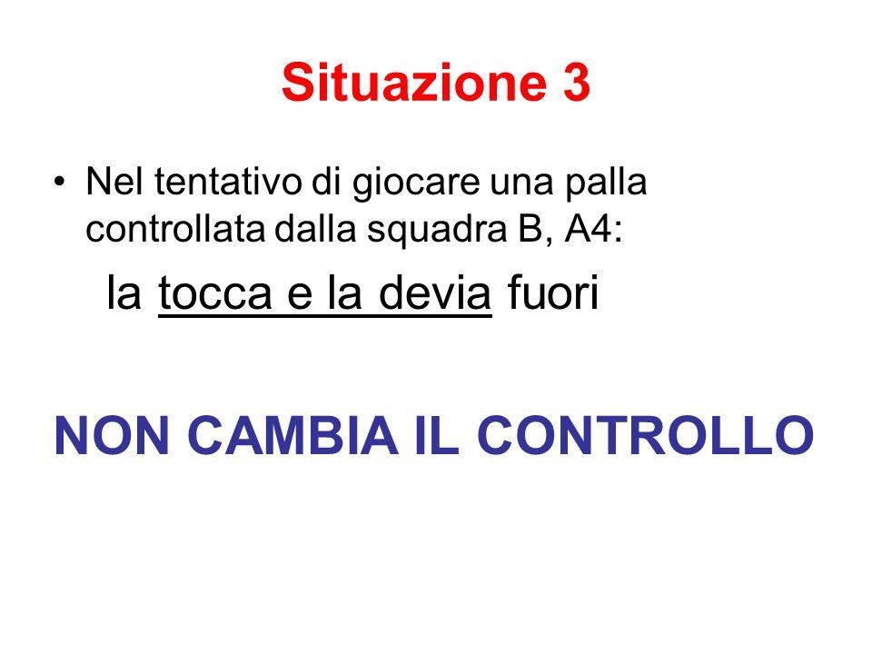 Situazione 3 Nel tentativo di giocare una palla controllata dalla squadra B, A4: la tocca e la devia fuori NON CAMBIA IL CONTROLLO