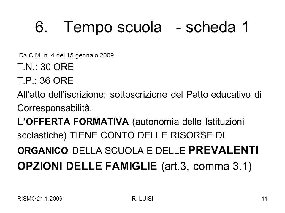 RISMO 21.1.2009R.LUISI11 6.Tempo scuola - scheda 1 Da C.M.