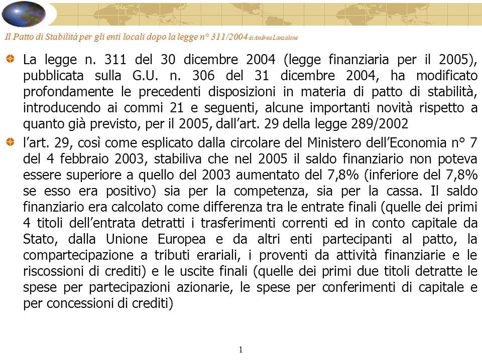 1 Il Patto di Stabilità per gli enti locali dopo la legge n° 311/2004 di Andrea Lanzalone La legge n.