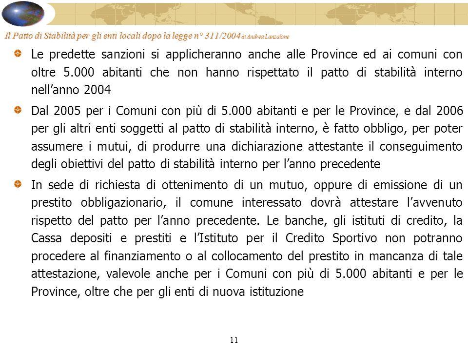 11 Il Patto di Stabilità per gli enti locali dopo la legge n° 311/2004 di Andrea Lanzalone Le predette sanzioni si applicheranno anche alle Province ed ai comuni con oltre 5.000 abitanti che non hanno rispettato il patto di stabilità interno nellanno 2004 Dal 2005 per i Comuni con più di 5.000 abitanti e per le Province, e dal 2006 per gli altri enti soggetti al patto di stabilità interno, è fatto obbligo, per poter assumere i mutui, di produrre una dichiarazione attestante il conseguimento degli obiettivi del patto di stabilità interno per lanno precedente In sede di richiesta di ottenimento di un mutuo, oppure di emissione di un prestito obbligazionario, il comune interessato dovrà attestare lavvenuto rispetto del patto per lanno precedente.