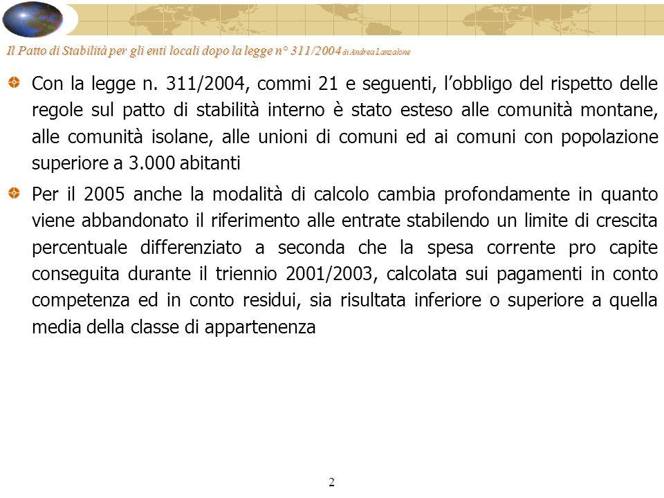 13 Il Patto di Stabilità per gli enti locali dopo la legge n° 311/2004 di Andrea Lanzalone La programmazione finanziaria è: Semestrale – Per i Comuni con più di 5.000 abitanti e per le Province Trimestrale – Per gli altri enti soggetti (escluse le unioni di comuni e le comunità isolane) oLa previsione, formulata in termini di cassa, deve essere sottoscritta dal Collegio dei Revisori, e riferita ai pagamenti al 31-3, al 30-6, al 30-9 e 31-12 oIl termine per la formulazione della previsione è il 28-2 (31-3 se semestrale) di ciascun anno oLobiettivo trimestrale (e annuale) può essere rideterminato