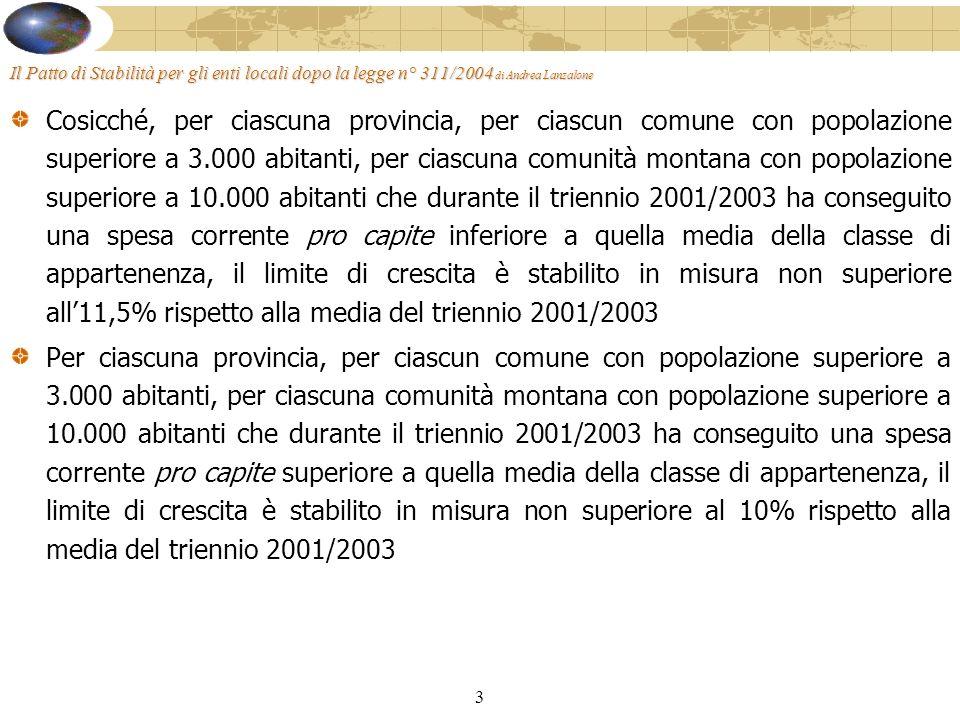 3 Il Patto di Stabilità per gli enti locali dopo la legge n° 311/2004 di Andrea Lanzalone Cosicché, per ciascuna provincia, per ciascun comune con popolazione superiore a 3.000 abitanti, per ciascuna comunità montana con popolazione superiore a 10.000 abitanti che durante il triennio 2001/2003 ha conseguito una spesa corrente pro capite inferiore a quella media della classe di appartenenza, il limite di crescita è stabilito in misura non superiore all11,5% rispetto alla media del triennio 2001/2003 Per ciascuna provincia, per ciascun comune con popolazione superiore a 3.000 abitanti, per ciascuna comunità montana con popolazione superiore a 10.000 abitanti che durante il triennio 2001/2003 ha conseguito una spesa corrente pro capite superiore a quella media della classe di appartenenza, il limite di crescita è stabilito in misura non superiore al 10% rispetto alla media del triennio 2001/2003