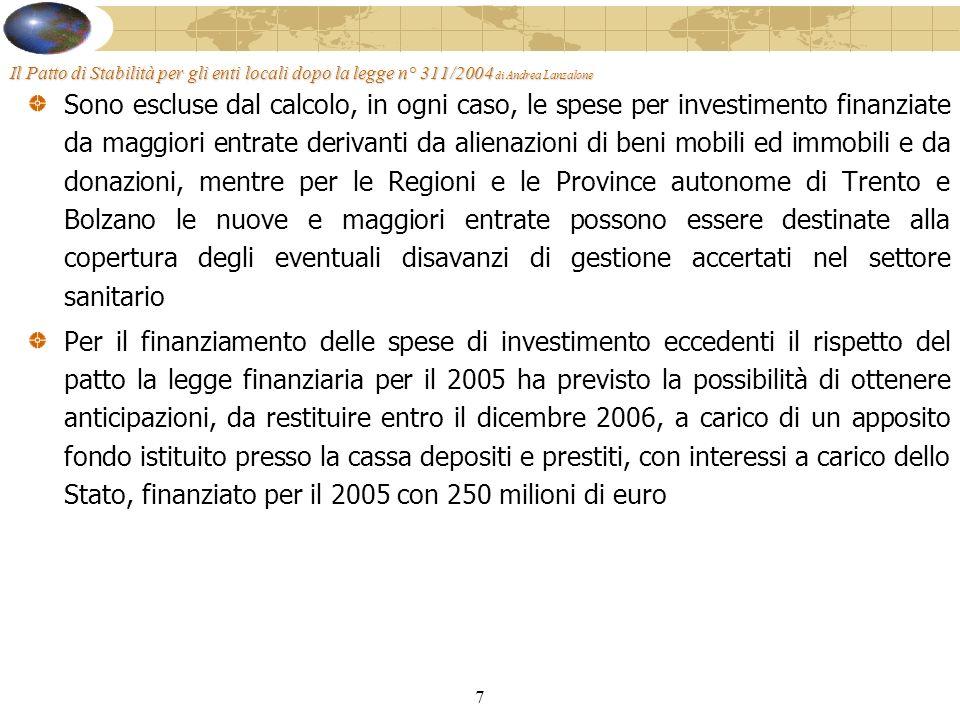 7 Il Patto di Stabilità per gli enti locali dopo la legge n° 311/2004 di Andrea Lanzalone Sono escluse dal calcolo, in ogni caso, le spese per investimento finanziate da maggiori entrate derivanti da alienazioni di beni mobili ed immobili e da donazioni, mentre per le Regioni e le Province autonome di Trento e Bolzano le nuove e maggiori entrate possono essere destinate alla copertura degli eventuali disavanzi di gestione accertati nel settore sanitario Per il finanziamento delle spese di investimento eccedenti il rispetto del patto la legge finanziaria per il 2005 ha previsto la possibilità di ottenere anticipazioni, da restituire entro il dicembre 2006, a carico di un apposito fondo istituito presso la cassa depositi e prestiti, con interessi a carico dello Stato, finanziato per il 2005 con 250 milioni di euro
