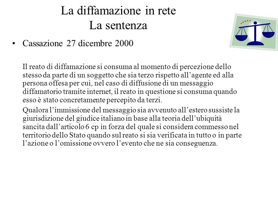 La diffamazione in rete La sentenza Cassazione 27 dicembre 2000 Il reato di diffamazione si consuma al momento di percezione dello stesso da parte di