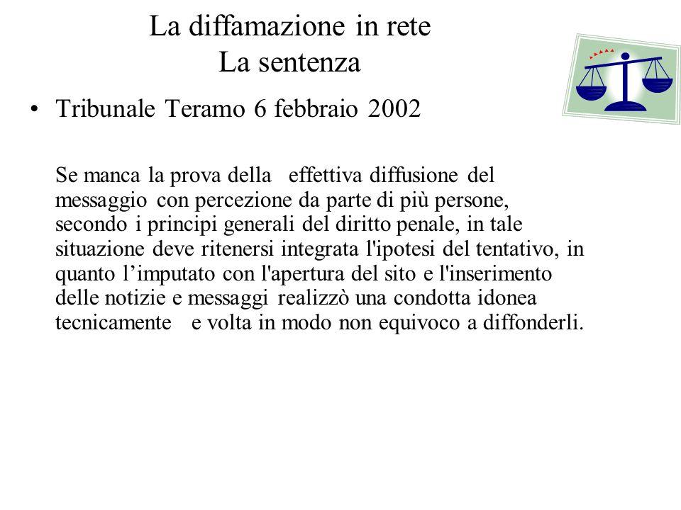 La diffamazione in rete La sentenza Tribunale Teramo 6 febbraio 2002 Se manca la prova della effettiva diffusione del messaggio con percezione da part