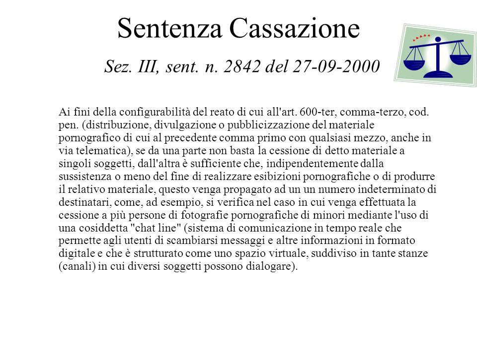 Sentenza Cassazione Sez. III, sent. n. 2842 del 27-09-2000 Ai fini della configurabilità del reato di cui all'art. 600-ter, comma-terzo, cod. pen. (di