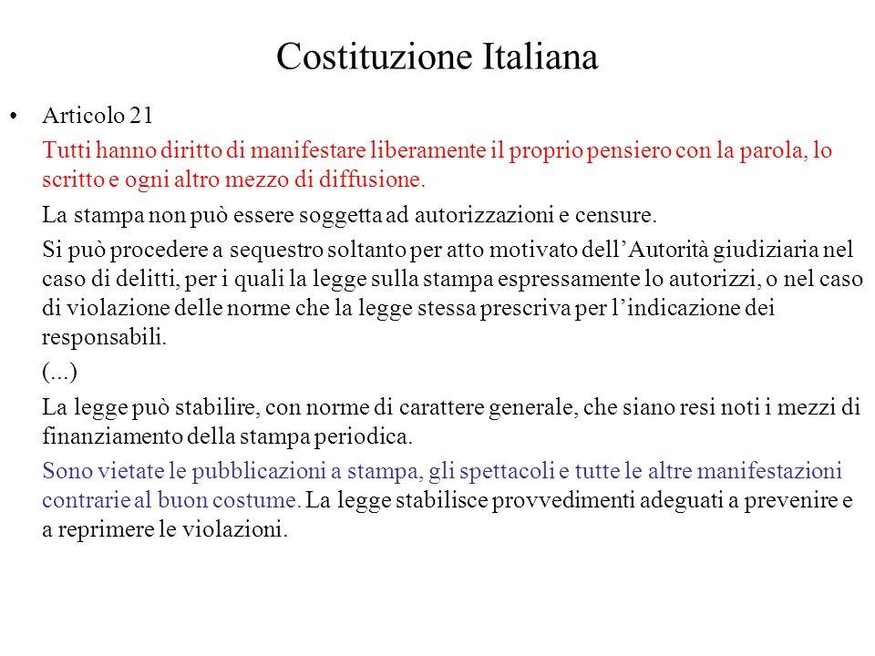 Costituzione Italiana Articolo 21 Tutti hanno diritto di manifestare liberamente il proprio pensiero con la parola, lo scritto e ogni altro mezzo di d