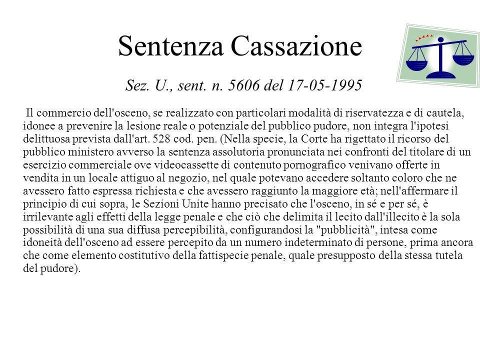 Sentenza Cassazione Sez. U., sent. n. 5606 del 17-05-1995 Il commercio dell'osceno, se realizzato con particolari modalità di riservatezza e di cautel