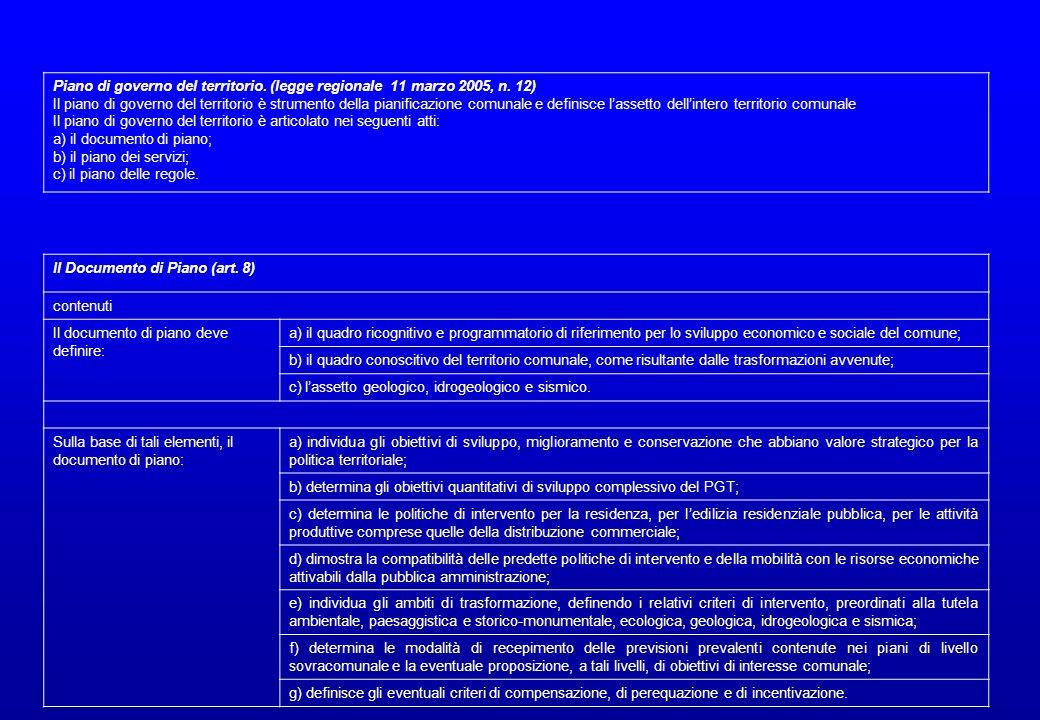 Il Documento di Piano (art. 8) contenuti Il documento di piano deve definire: a) il quadro ricognitivo e programmatorio di riferimento per lo sviluppo