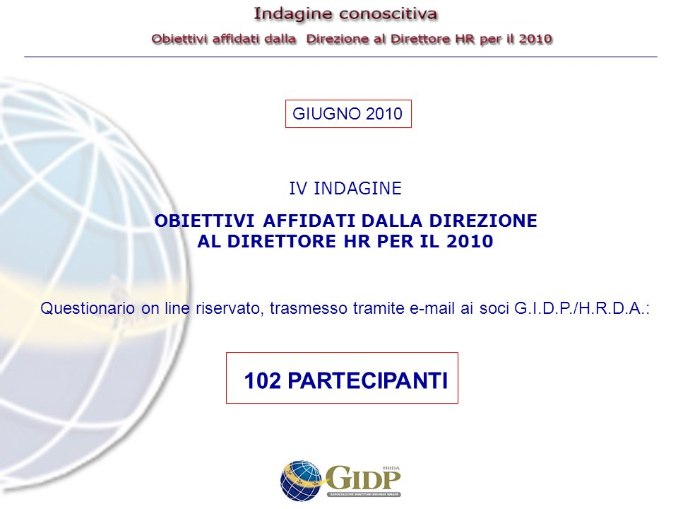 IV INDAGINE OBIETTIVI AFFIDATI DALLA DIREZIONE AL DIRETTORE HR PER IL 2010 Questionario on line riservato, trasmesso tramite e-mail ai soci G.I.D.P./H.R.D.A.: 102 PARTECIPANTI GIUGNO 2010