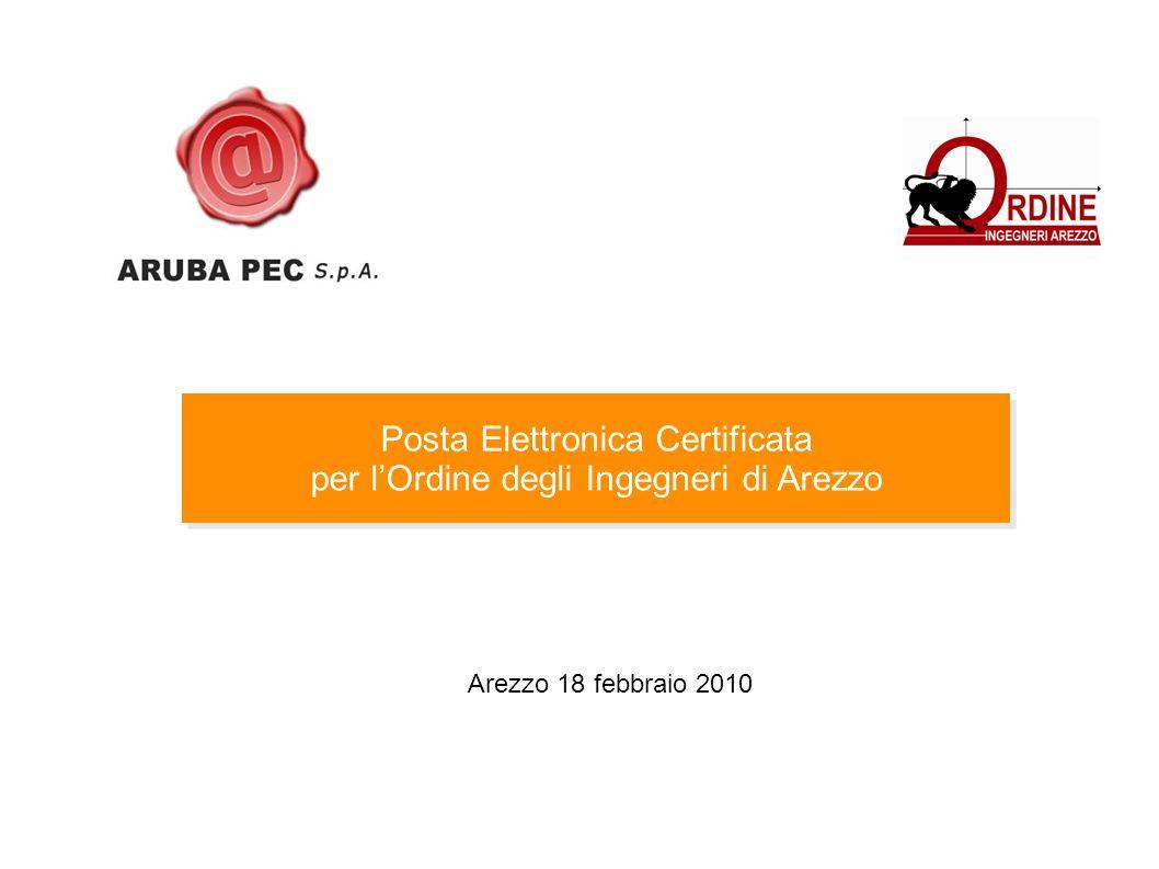 Posta Elettronica Certificata per lOrdine degli Ingegneri di Arezzo Posta Elettronica Certificata per lOrdine degli Ingegneri di Arezzo Arezzo 18 febbraio 2010