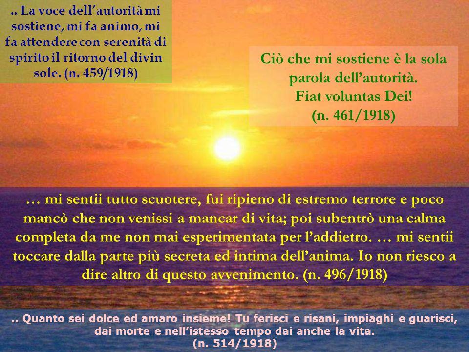 .. La voce dellautorità mi sostiene, mi fa animo, mi fa attendere con serenità di spirito il ritorno del divin sole. (n. 459/1918) Ciò che mi sostiene