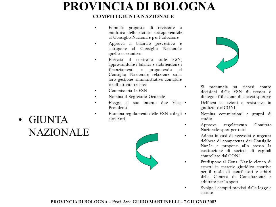 PROVINCIA DI BOLOGNA PROVINCIA DI BOLOGNA – Prof. Avv. GUIDO MARTINELLI – 7 GIUGNO 2003 GIUNTA NAZIONALE Formula proposte di revisione o modifica dell