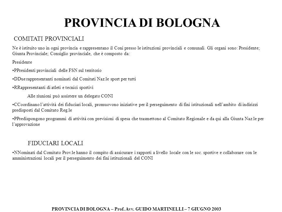 PROVINCIA DI BOLOGNA PROVINCIA DI BOLOGNA – Prof. Avv. GUIDO MARTINELLI – 7 GIUGNO 2003 COMITATI PROVINCIALI Ne è istituito uno in ogni provincia e ra