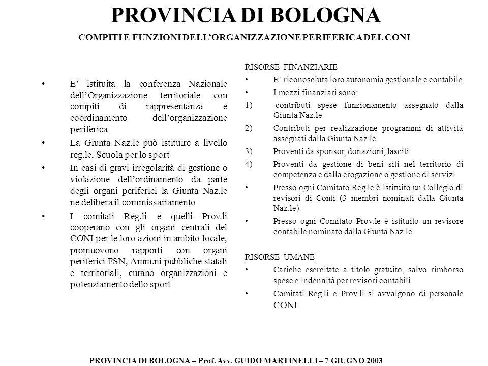 PROVINCIA DI BOLOGNA PROVINCIA DI BOLOGNA – Prof. Avv. GUIDO MARTINELLI – 7 GIUGNO 2003 E istituita la conferenza Nazionale dellOrganizzazione territo