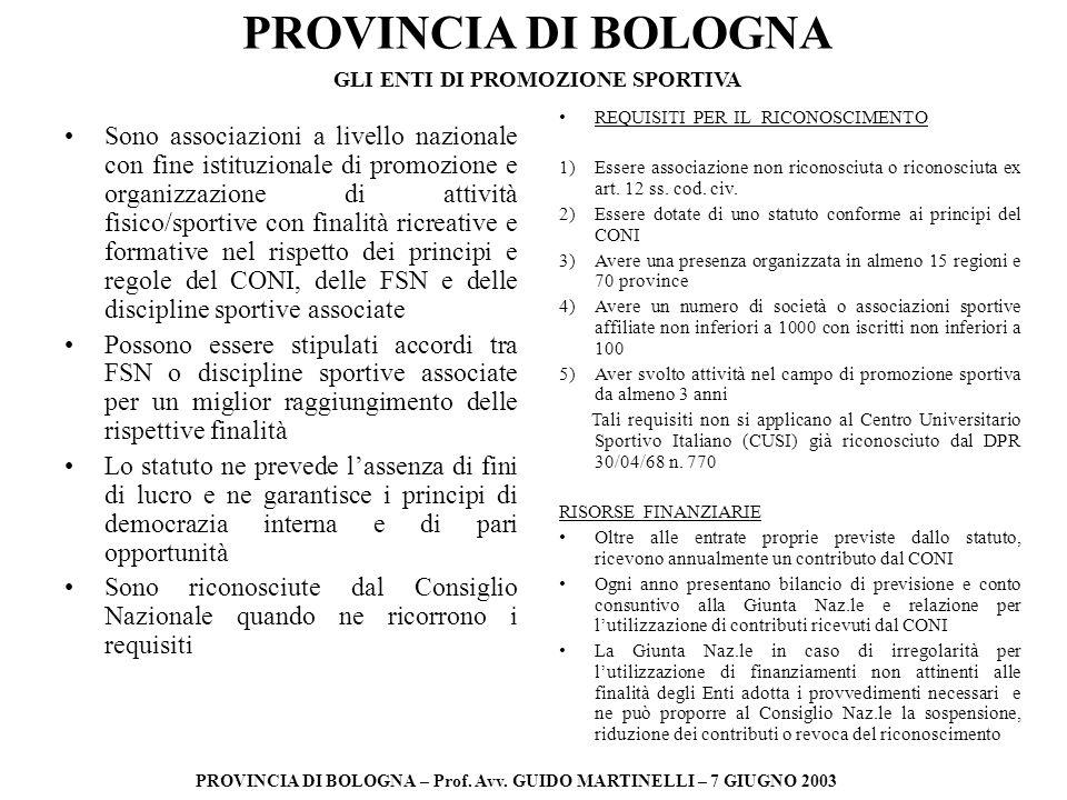 PROVINCIA DI BOLOGNA PROVINCIA DI BOLOGNA – Prof. Avv. GUIDO MARTINELLI – 7 GIUGNO 2003 Sono associazioni a livello nazionale con fine istituzionale d