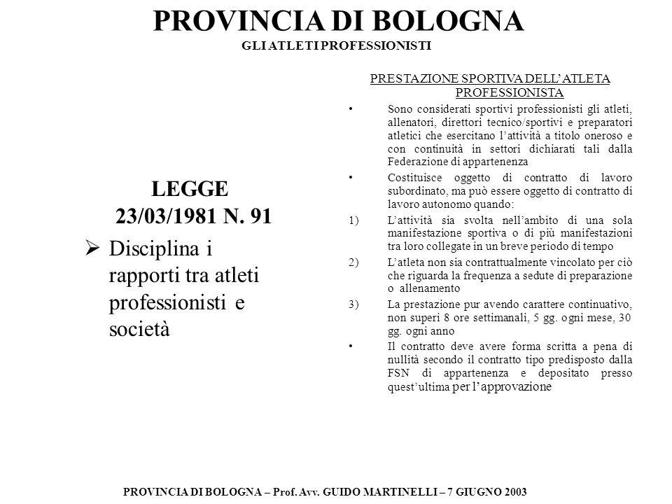 PROVINCIA DI BOLOGNA PROVINCIA DI BOLOGNA – Prof. Avv. GUIDO MARTINELLI – 7 GIUGNO 2003 LEGGE 23/03/1981 N. 91 Disciplina i rapporti tra atleti profes
