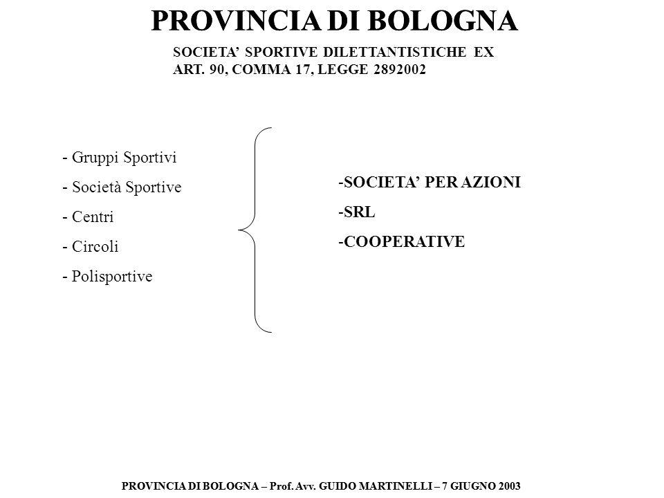 PROVINCIA DI BOLOGNA PROVINCIA DI BOLOGNA – Prof. Avv. GUIDO MARTINELLI – 7 GIUGNO 2003 PROVINCIA DI BOLOGNA PROVINCIA DI BOLOGNA – Prof. Avv. GUIDO M