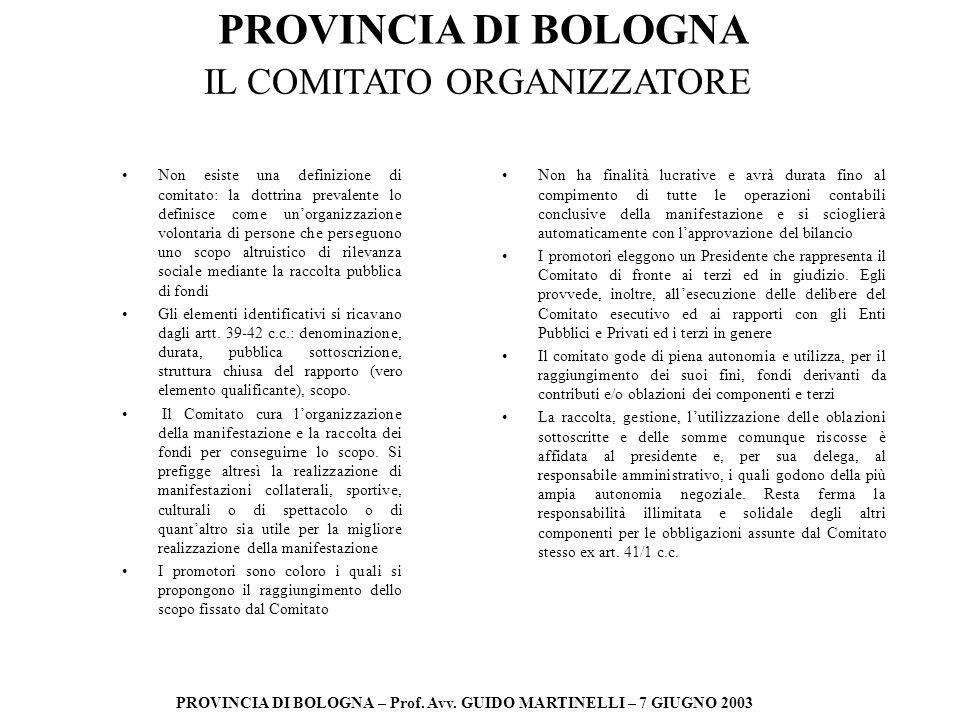 PROVINCIA DI BOLOGNA PROVINCIA DI BOLOGNA – Prof. Avv. GUIDO MARTINELLI – 7 GIUGNO 2003 IL COMITATO ORGANIZZATORE Non esiste una definizione di comita
