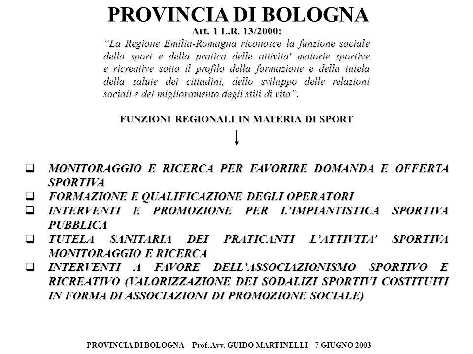 PROVINCIA DI BOLOGNA PROVINCIA DI BOLOGNA – Prof. Avv. GUIDO MARTINELLI – 7 GIUGNO 2003 Art. 1 L.R. 13/2000: La Regione Emilia-Romagna riconosce la fu