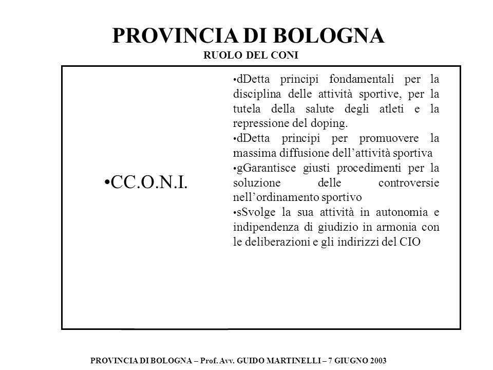 PROVINCIA DI BOLOGNA PROVINCIA DI BOLOGNA – Prof. Avv. GUIDO MARTINELLI – 7 GIUGNO 2003 CC.O.N.I. dDetta principi fondamentali per la disciplina delle