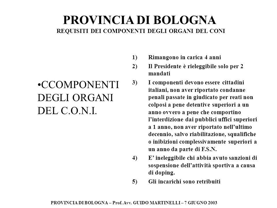 PROVINCIA DI BOLOGNA PROVINCIA DI BOLOGNA – Prof. Avv. GUIDO MARTINELLI – 7 GIUGNO 2003 CCOMPONENTI DEGLI ORGANI DEL C.O.N.I. REQUISITI DEI COMPONENTI