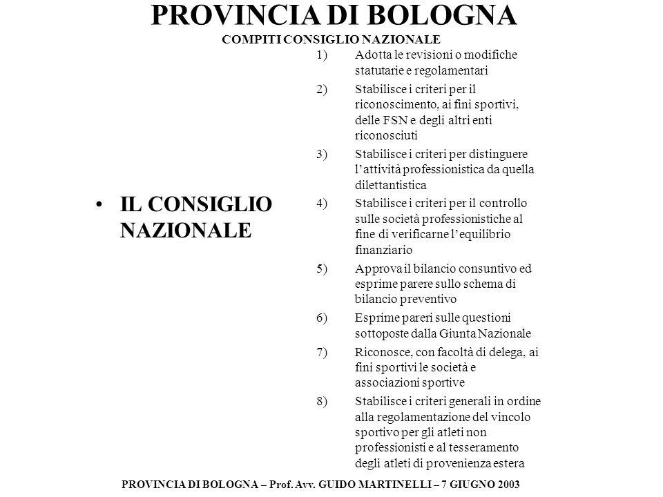 PROVINCIA DI BOLOGNA PROVINCIA DI BOLOGNA – Prof. Avv. GUIDO MARTINELLI – 7 GIUGNO 2003 IL CONSIGLIO NAZIONALE 1)Adotta le revisioni o modifiche statu