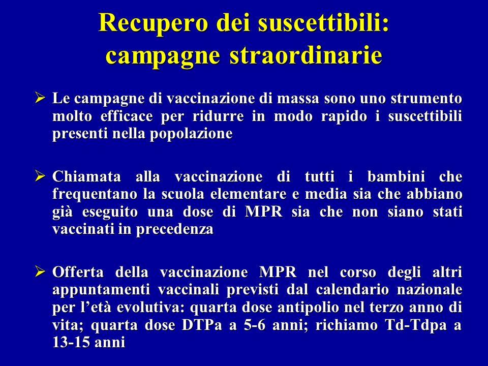 Recupero dei suscettibili: campagne straordinarie Le campagne di vaccinazione di massa sono uno strumento molto efficace per ridurre in modo rapido i