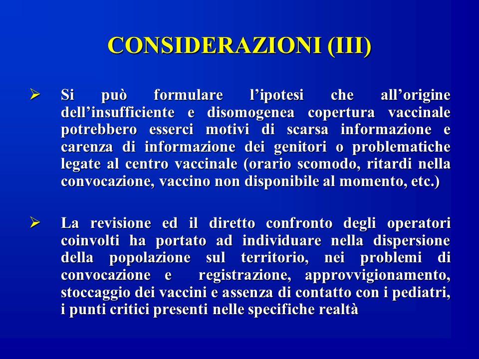 CONSIDERAZIONI (III) Si può formulare lipotesi che allorigine dellinsufficiente e disomogenea copertura vaccinale potrebbero esserci motivi di scarsa