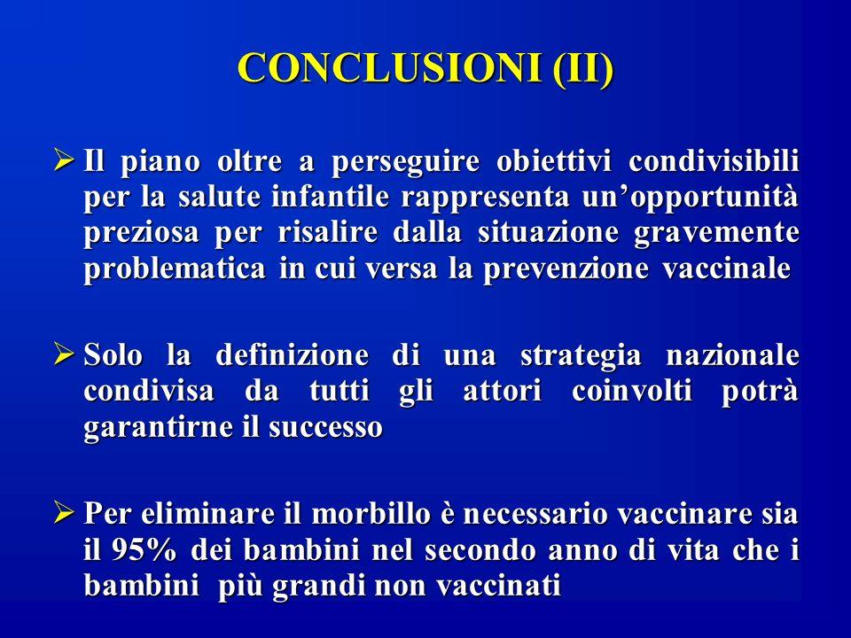 CONCLUSIONI (II) Il piano oltre a perseguire obiettivi condivisibili per la salute infantile rappresenta unopportunità preziosa per risalire dalla sit