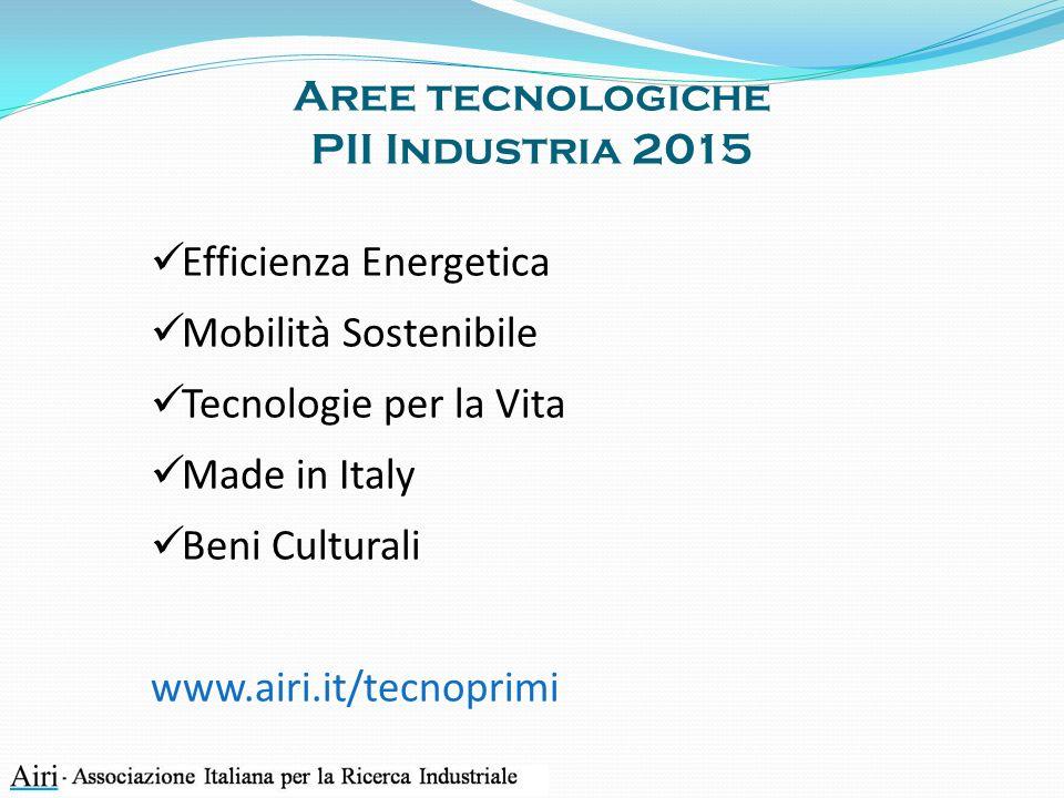 Aree tecnologiche PII Industria 2015 Efficienza Energetica Mobilità Sostenibile Tecnologie per la Vita Made in Italy Beni Culturali www.airi.it/tecnoprimi