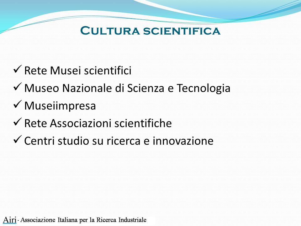 Cultura scientifica Rete Musei scientifici Museo Nazionale di Scienza e Tecnologia Museiimpresa Rete Associazioni scientifiche Centri studio su ricerca e innovazione