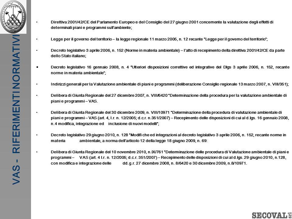 VAS - RIFERIMENTI NORMATIVI Direttiva 2001/42/CE del Parlamento Europeo e del Consiglio del 27 giugno 2001 concernente la valutazione degli effetti di