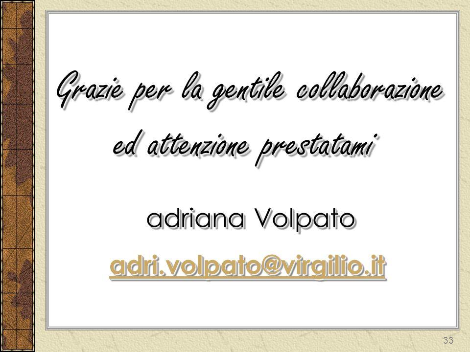 33 Grazie per la gentile collaborazione ed attenzione prestatami adriana Volpato adri.volpato@virgilio.it Grazie per la gentile collaborazione ed atte