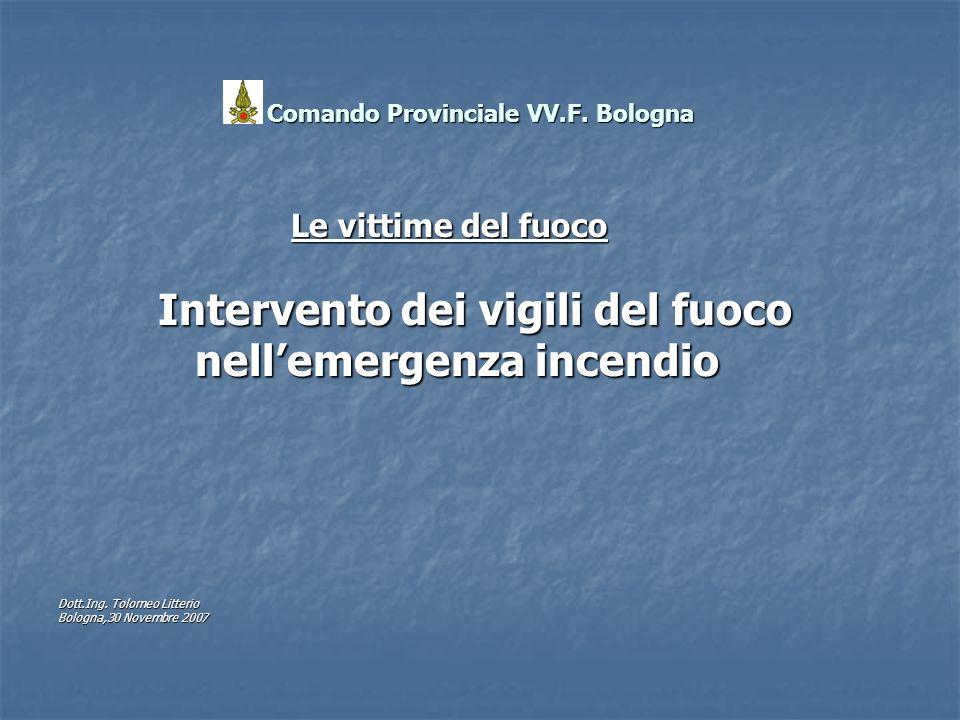 Comando Provinciale VV.F. Bologna Le vittime del fuoco Le vittime del fuoco Intervento dei vigili del fuoco Intervento dei vigili del fuoco nellemerge