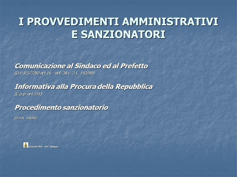 I PROVVEDIMENTI AMMINISTRATIVI E SANZIONATORI Comunicazione al Sindaco ed al Prefetto (D.P.R 577/82 art.16 – art. 38 c. 2 L. 142/90) Informativa alla