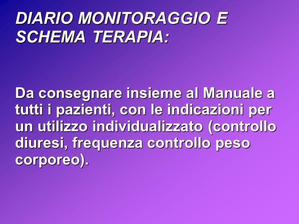DIARIO MONITORAGGIO E SCHEMA TERAPIA: Da consegnare insieme al Manuale a tutti i pazienti, con le indicazioni per un utilizzo individualizzato (controllo diuresi, frequenza controllo peso corporeo).