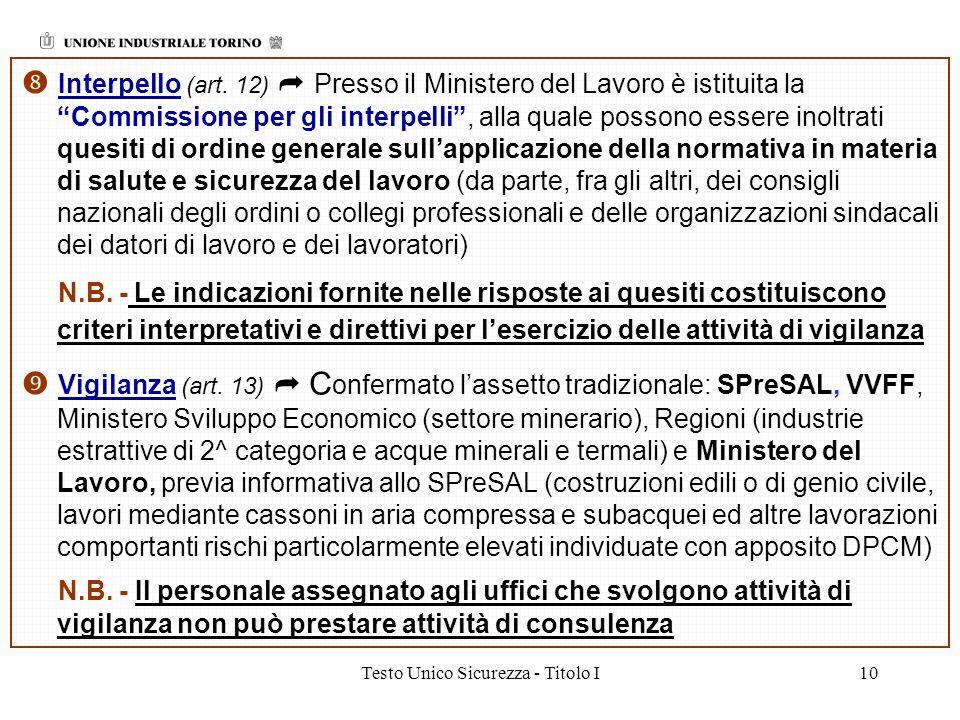 Testo Unico Sicurezza - Titolo I10 Interpello (art. 12) Presso il Ministero del Lavoro è istituita la Commissione per gli interpelli, alla quale posso