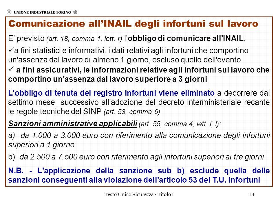 Testo Unico Sicurezza - Titolo I14 Comunicazione allINAIL degli infortuni sul lavoro E previsto (art. 18, comma 1, lett. r) lobbligo di comunicare all