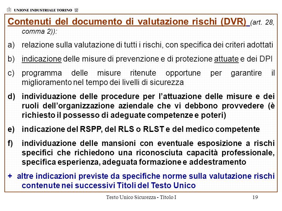 Testo Unico Sicurezza - Titolo I19 Contenuti del documento di valutazione rischi (DVR) (art. 28, comma 2)): a)relazione sulla valutazione di tutti i r