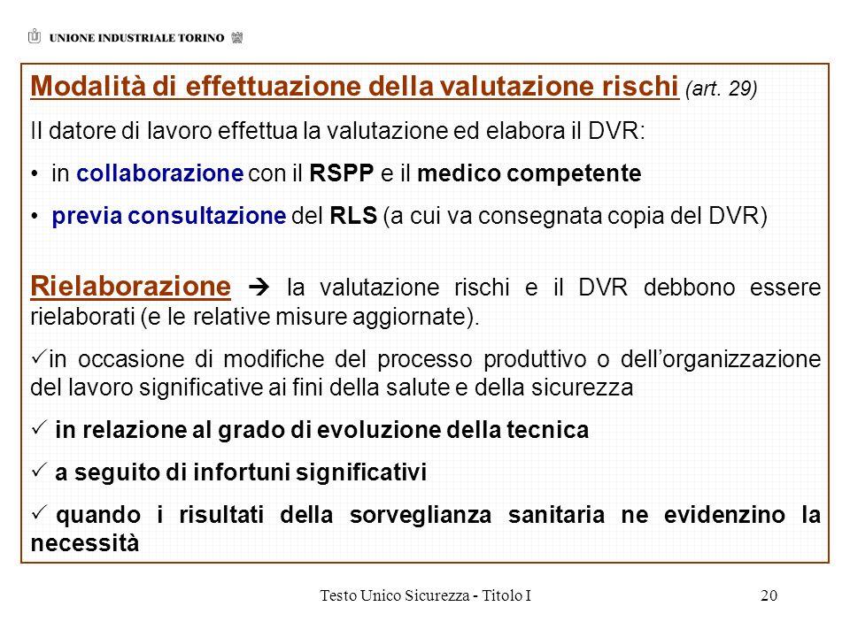 Testo Unico Sicurezza - Titolo I20 Modalità di effettuazione della valutazione rischi (art. 29) Il datore di lavoro effettua la valutazione ed elabora