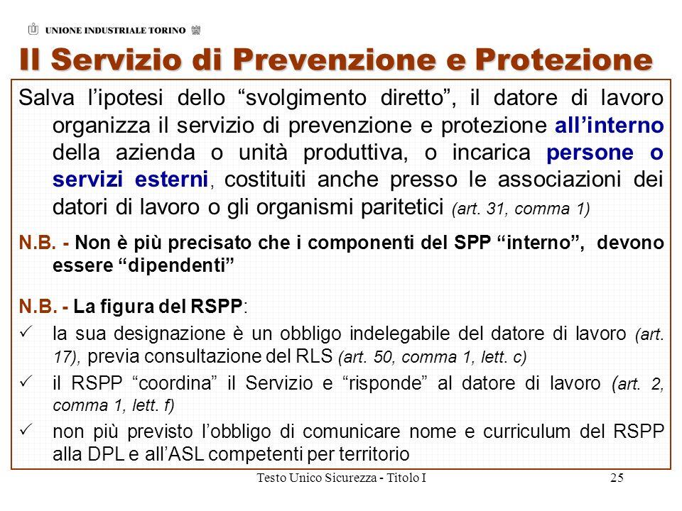 Testo Unico Sicurezza - Titolo I25 Il Servizio di Prevenzione e Protezione Salva lipotesi dello svolgimento diretto, il datore di lavoro organizza il