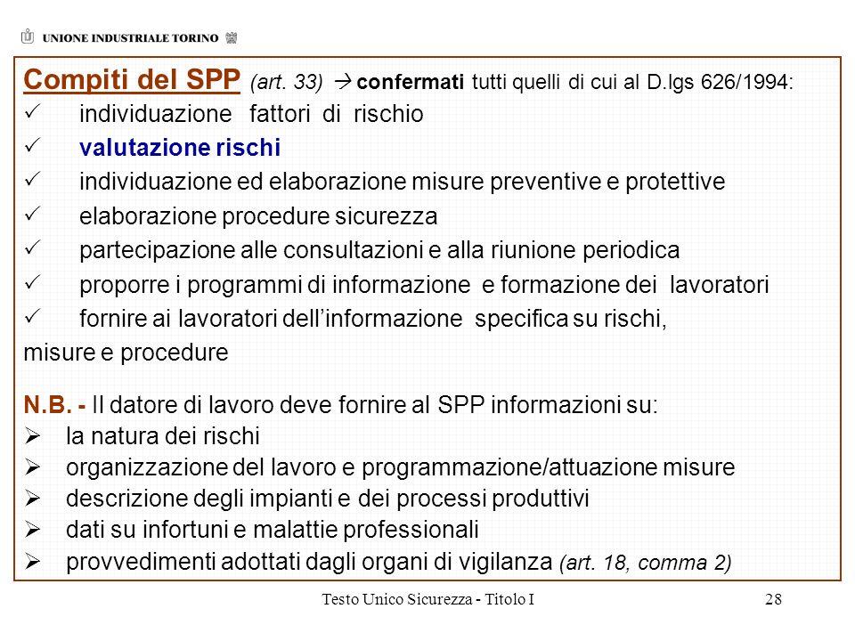 Testo Unico Sicurezza - Titolo I28 Compiti del SPP (art. 33) confermati tutti quelli di cui al D.lgs 626/1994: individuazione fattori di rischio valut