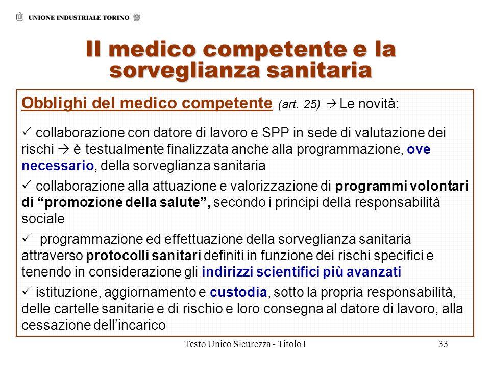 Testo Unico Sicurezza - Titolo I33 Il medico competente e la sorveglianza sanitaria Obblighi del medico competente (art. 25) Le novità: collaborazione