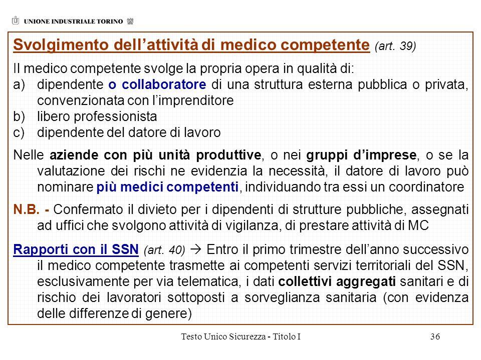 Testo Unico Sicurezza - Titolo I36 Svolgimento dellattività di medico competente (art. 39) Il medico competente svolge la propria opera in qualità di: