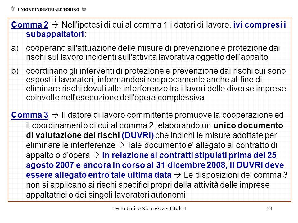 Testo Unico Sicurezza - Titolo I54 Comma 2 Nell'ipotesi di cui al comma 1 i datori di lavoro, ivi compresi i subappaltatori: a)cooperano all'attuazion