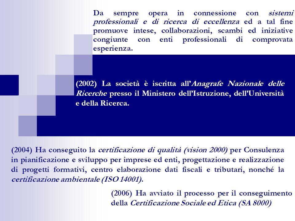 (2006) Ha avviato il processo per il conseguimento della Certificazione Sociale ed Etica (SA 8000) Da sempre opera in connessione con sistemi professionali e di ricerca di eccellenza ed a tal fine promuove intese, collaborazioni, scambi ed iniziative congiunte con enti professionali di comprovata esperienza.